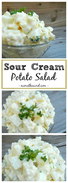 Sour Cream Potato Salad - easy and delicious! Mixed with Italian dressing and sour cream it's a tasty side dish to a casual or gourmet meal. Sour Cream Potato Salad, Sour Cream Potatoes, Creamed Potatoes, Salad Cream, Easy Potato Salad, Gourmet Recipes, Dinner Recipes, Cooking Recipes, Healthy Recipes