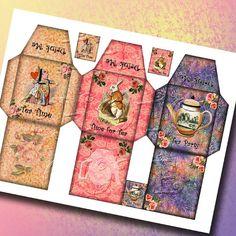 Alice in Wonderland - 3 CHaRMiNG Tea Bag Sleeve Templates & Tags - Printable JPG Digital File Download- BuY OnE GeT OnE FREE