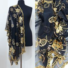 Vintage Authentic Black Silk Shawl Gold Metalic Embroidered Large Scarf Scalloped edge dressy wrap #Blacksilkshawl #dressyshawl #dressywrap #blacklongscarf #womensfashion #vintage #embroideredshawl