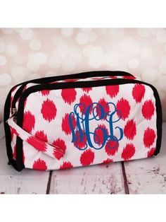 www.ewam.com Pink Brushed Dots Travel Bag with Black Trim
