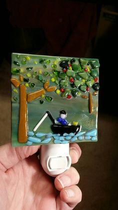 Fused glass Fisherman nightlight. by PreciousMelts on Etsy