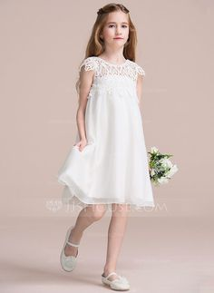 [US$ 59.99] Empire Knee-length Flower Girl Dress - Chiffon/Lace Short Sleeves Scoop Neck With Ruffles (010106122)
