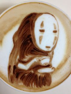 "No Face from ""Spirited Away"" (Studio Ghibli, 2001) #CoffeeArt"