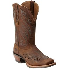 Ariat Ariat Women's Trail Head Western Boot (400503301) ($175) ❤ liked on Polyvore featuring shoes, boots, brown, mid-calf boots, mid calf leather boots, mid-heel boots, cowgirl boots, brown mid calf boots and leather western boots