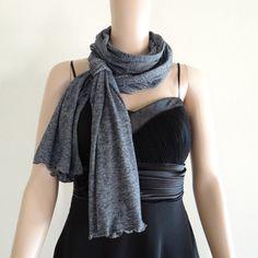 Dark Grey Long ScarfWrap ScarfSoft Cotton Scarf by lynamobley2012, $14.99