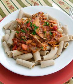 Rigatoni Pasta with Mushroom Marinara #recipe