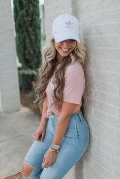 TheCheekyBeen- My Style Adidas Hat, Be Nice Pink Tee & Distressed Jeans Outfits With Hats, Casual Outfits, Cute Outfits, Fashion Outfits, Cap Outfits For Women, Adidas Cap, Adidas Outfit, Denim Outfit, Superenge Jeans
