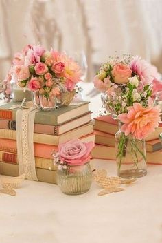 Vintage Centerpieces, Shabby And Chic Vintage Wedding Decor Ideas, Shabby-Chic, Vintage, Wedding Decor Ideas, Weddings, Wedding Decor, Mason Jars, Romantic