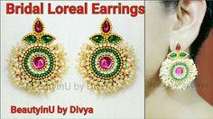 How to make Bridal Loreal Silk Thread Earrings//Paper Earrings/Bridal Ea...
