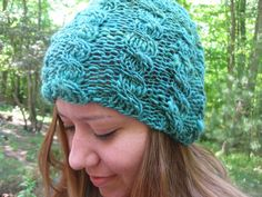 #hvnyteam, #hudsonvalley hand knitted, cabled, merino, slouchy, large sized, teal-ish green cap. this hat is kniitted to be large and can be worn slightly slouched, or can
