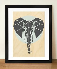 Geometric Elephant Print, Contemporary Elephant Art, Art Print, Cool Gray Art, Nursery Art