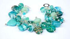 Aqua Turquoise Beaded Charm Bracelet by IndigoButton on Etsy, $30.00