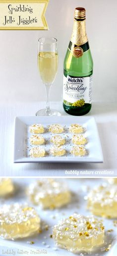 Non-alcoholic sparkling jello jigglers for new years