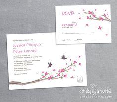Printable Wedding Invitation  - Love Birds and Cherry Blossom (Sakura). $15.00, via Etsy.