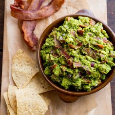 Crispy bacon is added to a slightly smoky guacamole for a mind-blowing combination.
