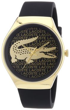 Lacoste - 2000808 - Montre Femme - Quartz Analogique - Cadran Doré -  Bracelet Silicone Noir 53d6dcf6f5e