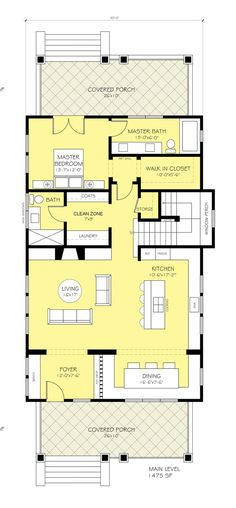 Craftsman Style House Plan - 3 Beds 3 Baths 2830 Sq/Ft Plan #888-12 Floor Plan - Main Floor Plan - Houseplans.com