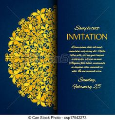 Vector - Ornamental blue with gold embroidery invitation card - stock illustration, royalty free illustrations, stock clip art icon, stock clipart icons, logo, line art, EPS picture, pictures, graphic, graphics, drawing, drawings, vector image, artwork, EPS vector art