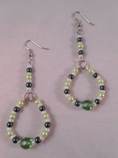 Green Beaded Long Hoops