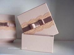 Lembrancinha Madrinhas de Casamento: Caixa nude com renda e laço chanel. | Flickr - Photo Sharing!