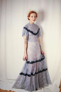 Incredible periwinkle blue Chantilly lace 1930s full length