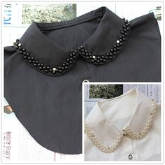 Wholesale 2014 New Hot Sale Promotion Fashion Blouse Crystal Pearl False Detachable Shirt Collar For Woman High Quality- Collar Designs, Blouse Designs, T Shirt Fundraiser, Casual Chique, Half Shirts, Diy Fashion, Womens Fashion, Moda Casual, Collars For Women
