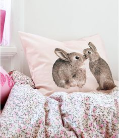 Bunny pillowcase with floral bedsheet