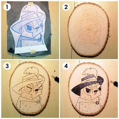 Pugs in Boots - Wood burn process - Steps 1-4- (1) Prepare to transfer drawing to wood  (2) Transferred. (3) Burn outlines. (4) Burn darkest fill areas  #pug #dog #art #woodburn #process #wip #tutorial #pyrography #woodburning #pussinboots