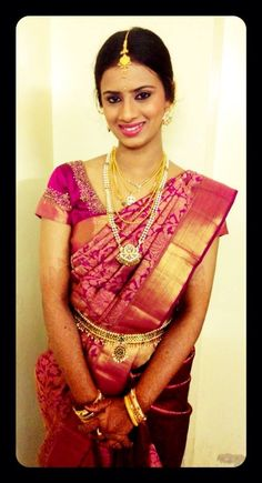 south indian bride | bridal makeup and saree Glitz Wedding, Wedding Sari, Dream Wedding, Beautiful Blouses, Beautiful Saree, Beautiful Bride, Indian Bridal Sarees, Indian Bridal Fashion, South Indian Weddings
