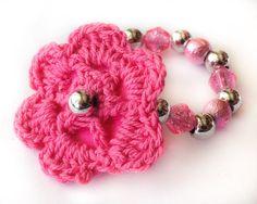 Crochet Flower Newborn Bracelet, Hot Pink Silver Pearl Beaded Jewelry, photo prop, hospital outfit, baby girl, elegant on Etsy, $5.45