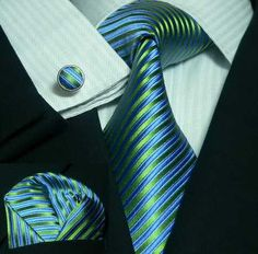 Peacock Blue and Green Stripe Necktie Set JPM44C – Toramon Necktie Company