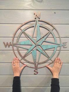 "Nautical compass- 22""- Saltwater Art- Pirate Decor- Fixer Upper- Man Cave Decoration- Beach Decor- Boat Dock- Boys Room- Sailing Decor-"