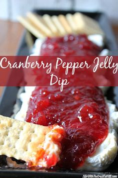 Cranberry Pepper Jelly Dip. One of my most pinned recipes! 3 ingredients get you this fabulous appetizer that will disappear in minutes!