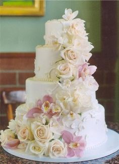 Rose and Orchid Cake