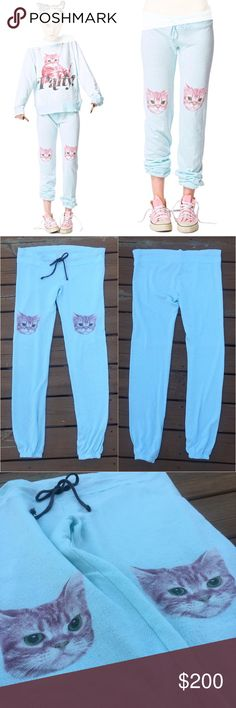 RARE Wildfox Party Cat Malibu Skinny Sweatpants Lil kitty faces on your knees separate these sweats from any other pants cuz this kitty looks like it's ready to rock out. Has a drawstring waist, so you can make sure they'll stay put without falling down. No pockets, so they're not super bulky.  Sold out, rare, hard to find. These adorable sweat pants are in excellent condition, except for a spot on the back side that I quickly repaired with a simple stitch (pictured). Could probably be…