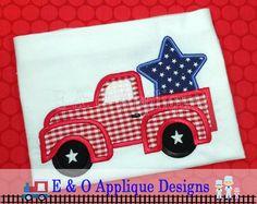 Monogram Star Applique Design Independence Day July 4th