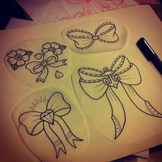 I reallllly like the bow and diamond and little flowers! Oddly enough! //Tattoo flash