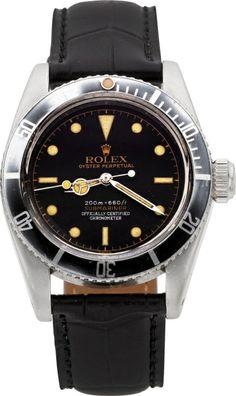 """Rolex Rare Ref. 6538 Big Crown Gilt Four Line """"James Bond"""" Submariner, circa 1957."""
