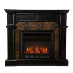 NeuBold Home Faux Slate Dark Ebony-Colored Electric Fireplace