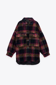 WOOL BLEND CHECK OVERSHIRT | ZARA Spain Basic Shorts, Pleated Shorts, Pleated Mini Skirt, Mini Skirts, Zara, Denim Shirt, Jeans, Biker, Packable Jacket