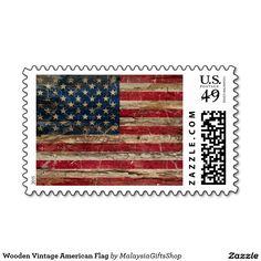 Wooden Vintage American Flag Stamps