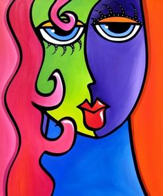Abstract painting Modern pop Art print Contemporary colorful portrait face decor by Fidostudio - And She Was Kunst Picasso, Art Picasso, Tom Fedro, Art Rupestre, Abstract Face Art, Art Visage, Modern Pop Art, Inspiration Art, Art Moderne