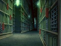 """Avatar: The Last Airbender series, episode """"The Library"""" (2006).  A hidden library has crucial information about a solar eclipse, and is guarded by an owl spirit."""