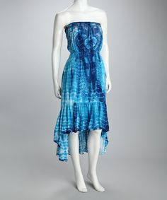Take a look at this Blue Tie-Dye Strapless Dress by Ash & Sara on #zulily today! $29.99, regular 96.00