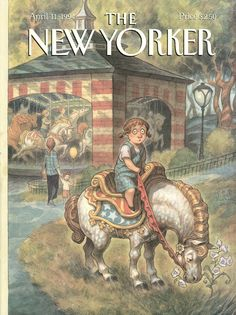 """The New Yorker - Monday, April 11, 1994 - Issue # 3605 - Vol. 70 - N° 7 - Cover """"Stop and Smell the Flowers"""" by Peter de Sève"""