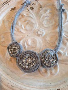 Upcycled tshirt rosette necklace!