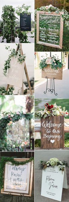 2018 trending wedding sign ideas decorated with greenery