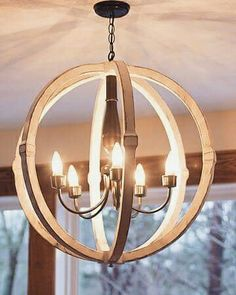 Distressed White Wooden Orb Chandelier From Eli Woodworks