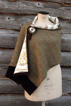 Harriet Hoot Harris Tweed Horse Wrap Iike this version of Skye wrap Sewing Scarves, Sewing Clothes, Diy Clothes, Sewing Patterns Free, Clothing Patterns, Free Sewing, Boho Fashion, Winter Fashion, Tweed Run
