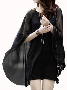 Batwing Long Sleeve Mini Dress Pure Color Women's Summer Dress Casaul Dress Black